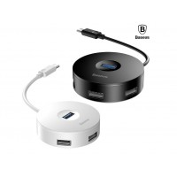 USB-хаб Baseus round box HUB adapter Type-C to USB3.0x1+USB2.0x3